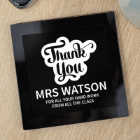 personalised Thank You Bubble Black Glass Coaster