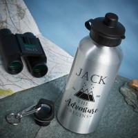 personalised adventure begins silver water bottle