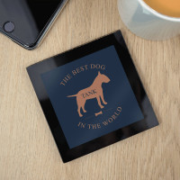 personalised Dog Black Glass Coasters