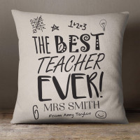 personalised Best Teacher Ever Cotton Cushion