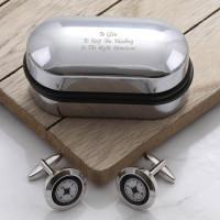 personalised Compass Cufflinks Gift Set