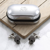 personalised 3D Skull Cufflinks Gift Set