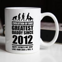personalised Evolution of Dad Durham Mug