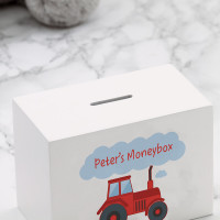 personalised Tractor Wooden Money Box