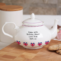 personalised Union Jack Traditional Teapot