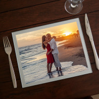 personalised silver valentines photo table mat