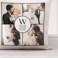 "personalised Wedding Collage Cushion (White) 18x18"""