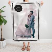 personalised Wedding Couple Silhouette Photo Blanket
