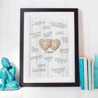 personalised Wedding Heart Initials Wall Art