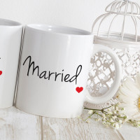 personalised just married matching mugs