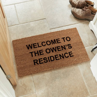 personalised welcome to coir doormat