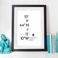 personalised Co-Ordinates Wall Art White