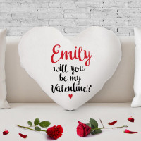 personalised Will You Be My Valentine? Heart Shaped Cushion