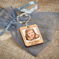 personalised wooden photo keyring