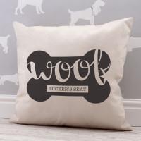 personalised Woof Dog Bone Cotton Cushion