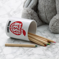 personalised World's Best Teacher Apple Pen Pot