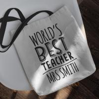 personalised Worlds Best Teacher Tote Bag