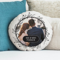 personalised Wreath Round Photo Cushion 18""