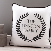 Family Wreath Piped Cushion