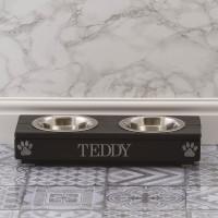 personalised XS Black Double Feeding Bowl