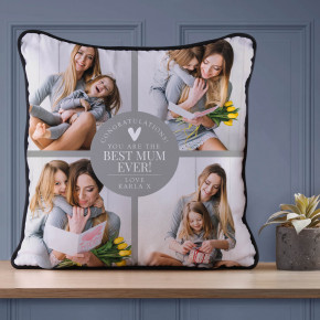 """""""Best Mum Ever"""" Piped Photo Cushion"""