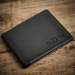 Initials Black Wallet