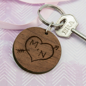Carved Tree Round Wooden Keyring