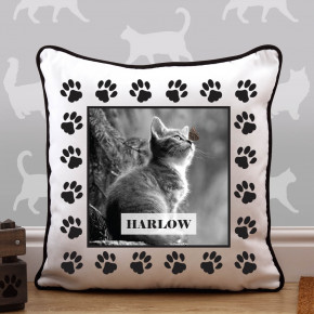 Cat Paw Border Piped Edge Photo Cushion