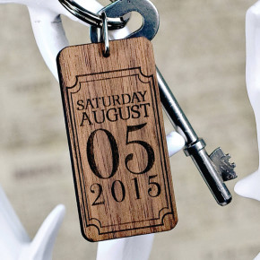 Rectangle Special Date Wooden Keyring