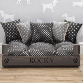 Grey Luxury Wooden Pet Bed
