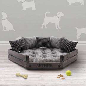 Grey Luxury Corner Wooden Pet Bed