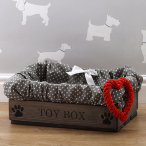 Grey Wooden Pet Toy Box