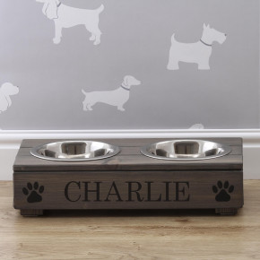 Grey Wooden Double Dog Bowl Feeding Station