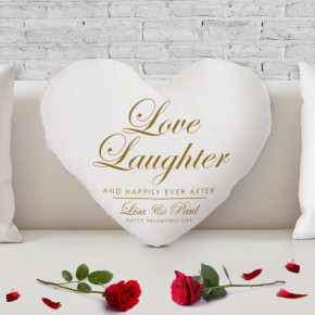 Love Laughter Heart Shaped Cushion