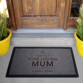 Wine Loving Mum Grey Doormat