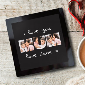 Love You Mum Photo Glass Coaster