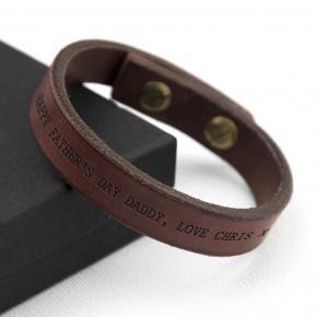 Men's Thick Brown Leather Bracelet