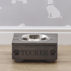 Grey Wooden Dog Bowl Feeding Station