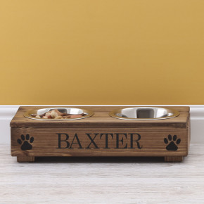 Rustic Wooden Double Dog Bowl Feeding Station