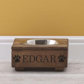 Rustic Wooden Dog Bowl Feeding Station